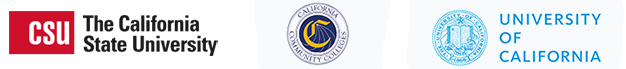 Logos for the CSU, CCC, and UC systems